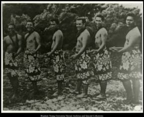 1959 Lāʻie Hukilau mens troupe. L-R: John Quereto, Alan Barcarse, Ronald Wong, Brian Hollis, Ishmael Stagner, Pitone Ioane. Photo courtesy Joseph S. Smith Library Archives & Special Collections.