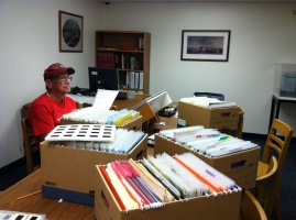 Researching in the Reading Room of the BYUH Archives. Photo courtesy Hula Preservation Society.