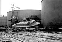 U.S. Army crash boat hurled inland and heavily damaged.