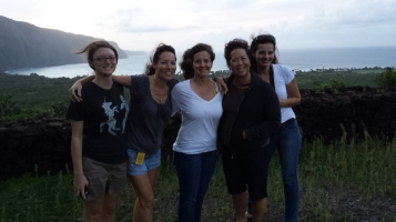 It was a little windy. Pictured left to right: Megan Ramsey, Jill Sommer, Charise Michelsen, Celeste Ohta, and the lovely Joy Holland Cesca.