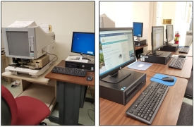 The reading room also has several microfilm readers and one microfilm scanning station.  Some materials are only available on microfilm due to their fragile condition and/or is the only format for those records.  There are 3 computer stations that patrons can also use to view what has been digitized by the Archives and its online catalogs.
