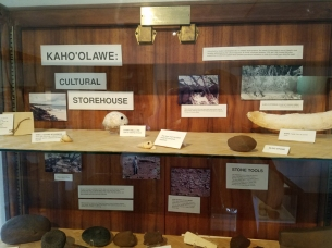 These artifacts from the island of Kahoolawe made their way to Hale Hōʻikeike from original archaeological surveys done by the Navy in the 1980s