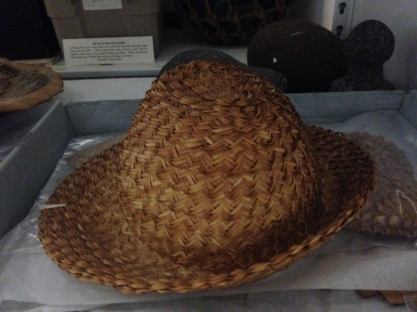 An exquisit lauhala hat housed in the Hale Hōʻikeʻike archive